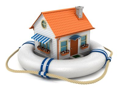 Toy house floating on pool ring